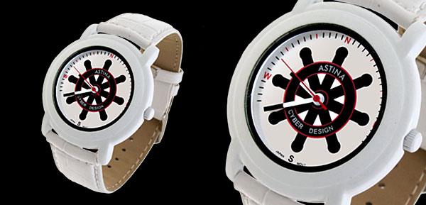 Jewelry Astina-like Frisbee Symbol Leather Band Quartz Watch