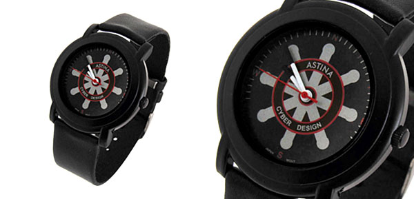 Jewelry Black Leather Band Quartz Watch