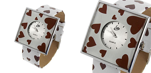 Jewelry Coffee Hearts White Band Quartz Watch