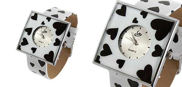 Jewelry Black Hearts White Band Quartz Watch