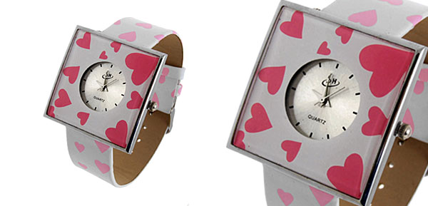 Jewelry Pink Hearts White Band Quartz Watch