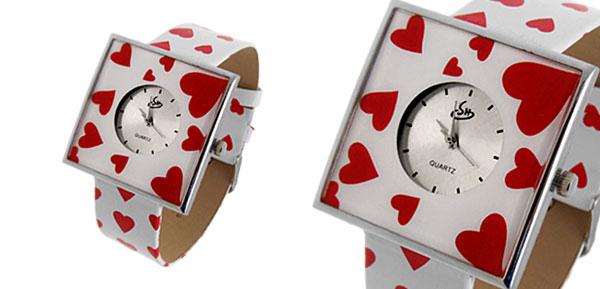 Jewelry Red Hearts White Band Quartz Watch