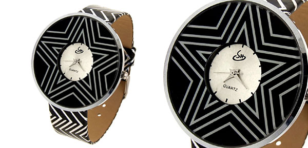 Jewelry Star Wars Wave Black Band Quartz Lady Watch