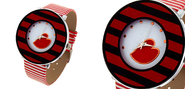 Jewelry Red Heart Stripe Red Band Quartz Watch