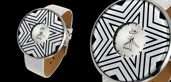 Jewelry Star Stripe White Band Quartz Watch