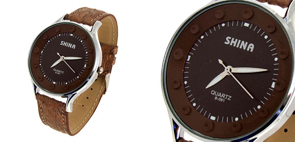 Jewelry Mushroom Pattern Coffee Band Quartz Watch