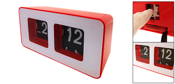 Cool Gadgets Red and White Flip Down Clock