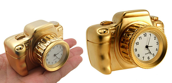 Fashion Unique Metal Golden Camera Desk Clock