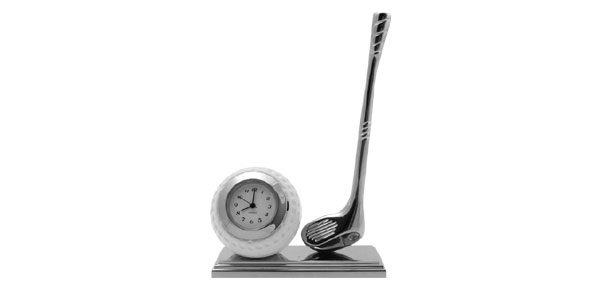 Golf Kit Stainless Steel Desktop Clock Quartz Table Watch Decoration