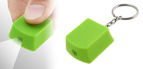 Green Mini Cubic LED Flashlight with Keychain