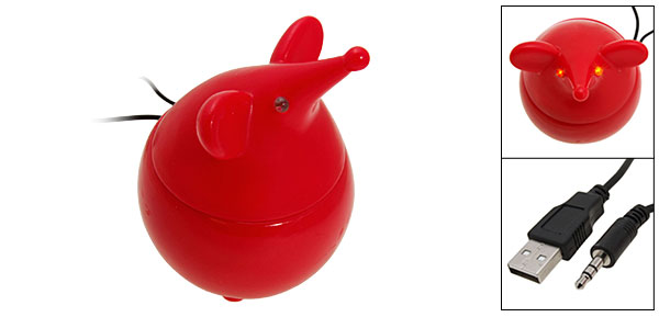 Red Mouse Portable Speakers For MP3 MP4 Mobile PC iPod