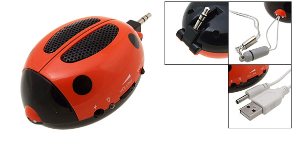 Orange Super Mini Ladybug Sound Speaker Box for MP3 iPod