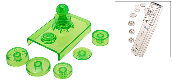 Crystal Green Clear Color 3D Button for Nintendo Wii Remote