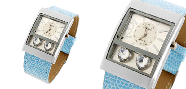 Jewelry Crystal Blue Faux Leather Strap Quartz Watch