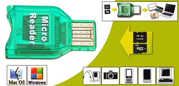 Mini Green Smart Compact M2 Micro SD Card Reader