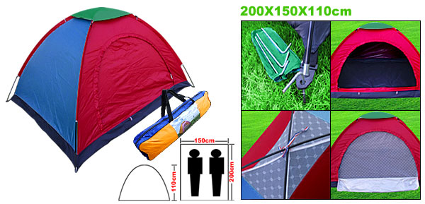 2-3 Person Indoor/Outoor Camping Camp Tent Rain Cover Couple Family Dome w/ Stuff Bag