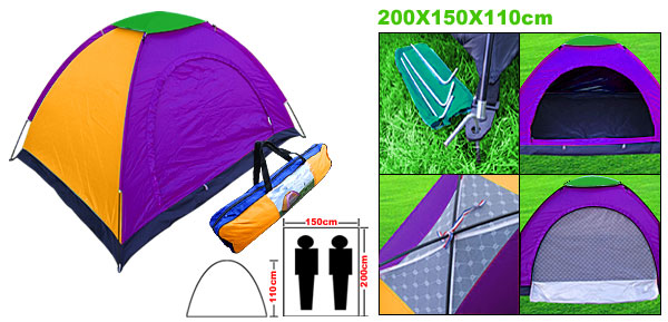 Family Couple 2 Man Tent for Outdoor Beach Camping Purple & Yellow