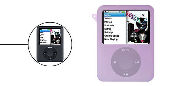 Purple Silicon Skin Case w/ear  for iPod Nano 3G