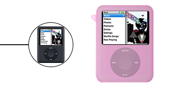 Pink Silicon Skin Case w/ear  for iPod Nano 3G