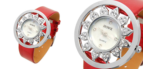 Fashion Jewelry Sunflower Quartz Wrist Ladies Fashion Watches Red