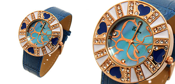Fashion Jewelry Blue Beloved Heart Flower Ladies Wrist Fashion Watches