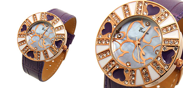 Fashion Jewelry Purple Beloved Heart Flower Ladies Wrist Fashion Watches