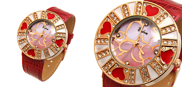 Fashion Jewelry Beloved Heart Flower Ladies Wrist Fashion Watches Red