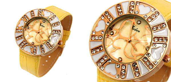Fashion Jewelry Beloved Heart Flower Ladies Wrist Fashion Watches Yellow