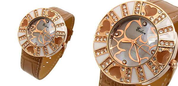Fashion Jewelry Khaki Beloved Heart Flower Ladies Wrist Fashion Watches