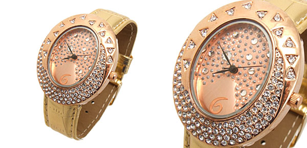 Fashion Jewelry Golden Egg Watchcase Ladies Quartz Wrist Fashion Watches Golden