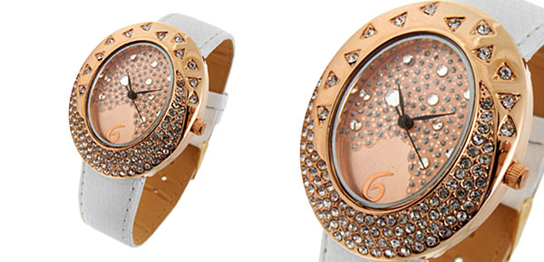 Golden Egg Watchcase Ladies Quartz Wrist Fashion Watches White