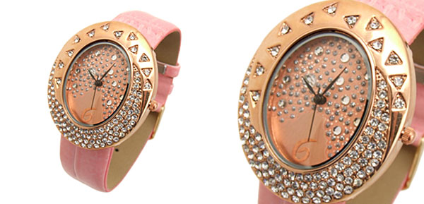 Golden Egg Watchcase Ladies Quartz Wrist Fashion Watches Pink