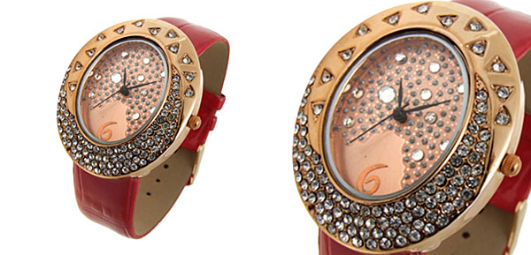 Golden Egg Watchcase Ladies Quartz Wrist Fashion Watches Red