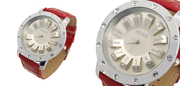 Turntable Watchcase Ladies Quartz Wrist Fashion Watches Red