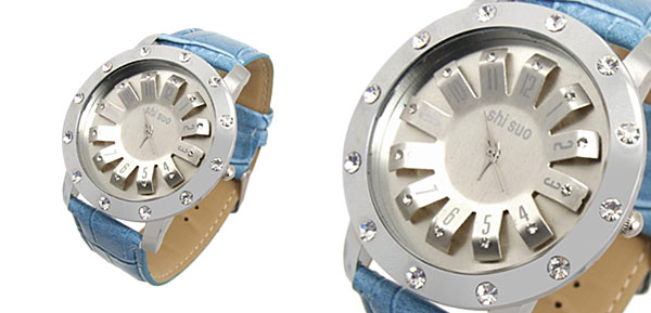 Turntable Watchcase Ladies Quartz Wrist Fashion Watches Baby Blue