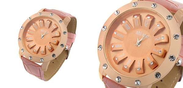 Turntable Watchcase Ladies Quartz Wrist Fashion Watches Pink