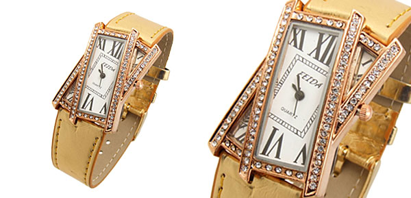 Crossover Ladies Quartz Wrist Fashion Watches Golden