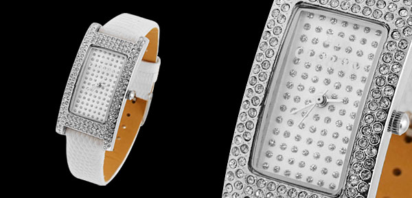 Fashion Jewelry Starry Man-made Diamonds Dial White Ladies Wristwatches