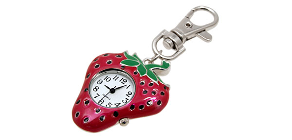 Mini Fashion Strawberry Quartz Key Chain Watch