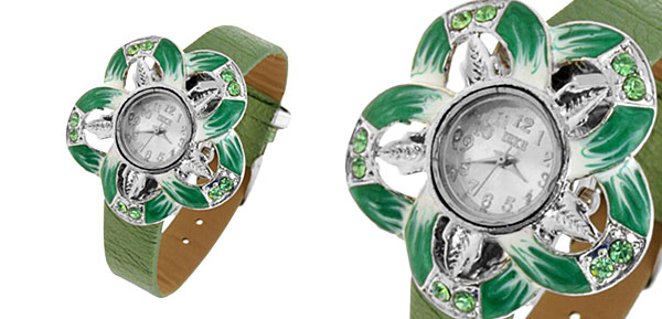Fashion Jewelry Grass Green Petal Watches Ladies Wrist Watches