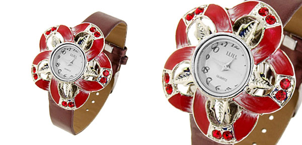 Fashion Jewelry Red Petal Watches Ladies Wrist Fashion Watches