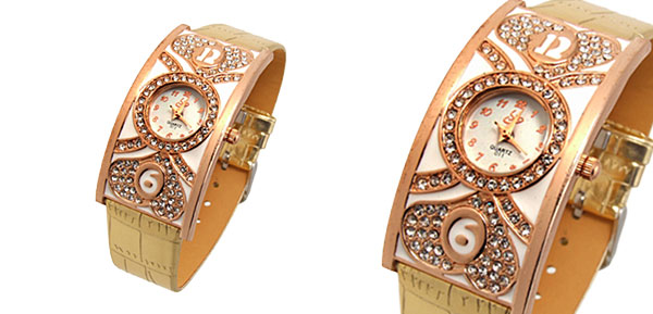 Fashion Jewelry Double Heart Arch Case Ladies Wrist Watches Golden