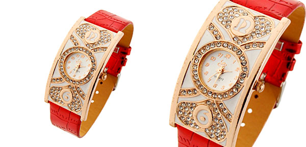 Fashion Jewelry Double Heart Arch Case Ladies Wrist Watches Red