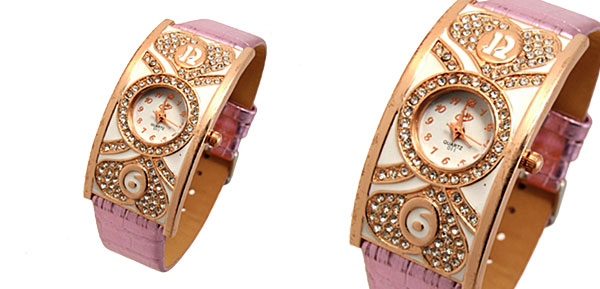 Fashion Jewelry Double Heart Arch Case Ladies Wrist Watches Purple