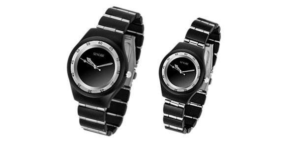 Fashion Jewelry Classic Black Water Resistant Quartz Stainless Steel Couple Watches