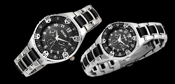 Fashion Jewelry Cool Black Water Resistant Quartz Stainless Steel Couple Watches