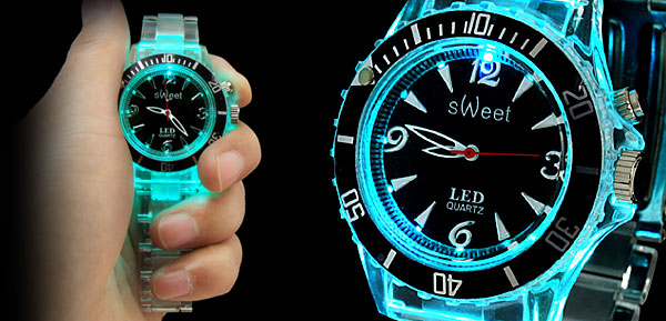Seven Color Changing Glow Fashion Wristwatches Black Dial