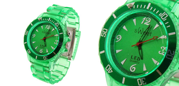 Rainbow Color Changing Fluorescent  Fashion Wristwatches Green Dial