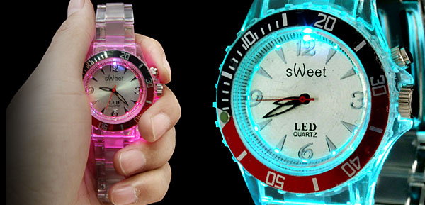 Rainbow Color Changing Fluorescent Fashion Wristwatches Black and Red Watchcase