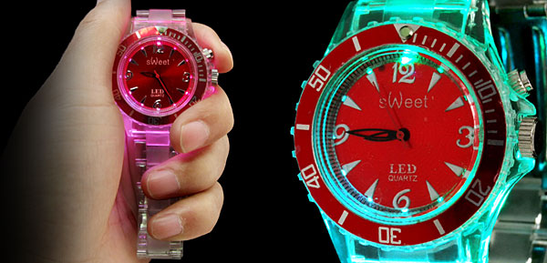Seven Color Changing Glow Fashion Wristwatches Red Dial
